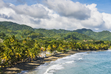 View over the beach of Roxborough, Tobago, Trinidad and Tobago, West Indies, Caribbean, Central America
