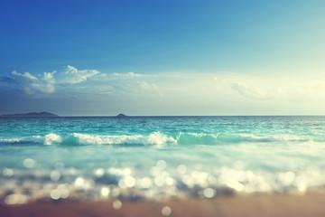 Fototapete - beach in sunset time, tilt shift soft effect