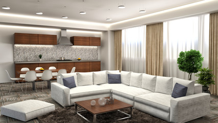 Modern kitchen and living room. 3d illustration