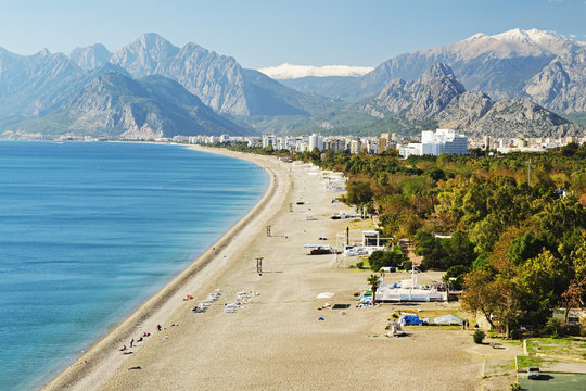 Konyaalti beach, Antalya, Taurus Mountains and Mediterranean Sea, Antalya Province, Anatolia, Turkey Minor