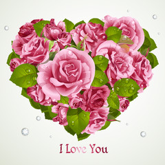 Heart from pink roses Valentines day card
