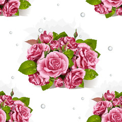 Seamless pattern of bouquet of pink roses