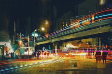 digital painting of city street at night with colorful light trails Fotomurales