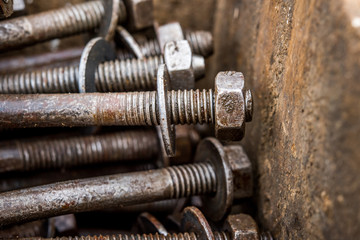 Old rusty nut and bolt