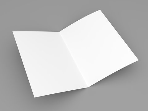 Blank folded flyer, booklet, postcard, business card or brochure on grey