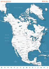 North America map - highly detailed vector illustration. Image contains land contours, country and land names, city names, water object names, navigation icons.