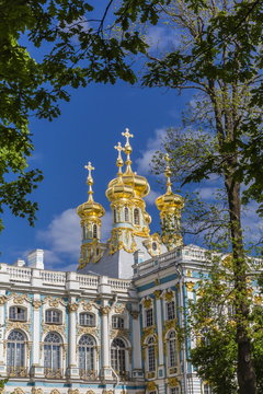 Exterior view of the Catherine Palace, Tsarskoe Selo, St. Petersburg, Russia