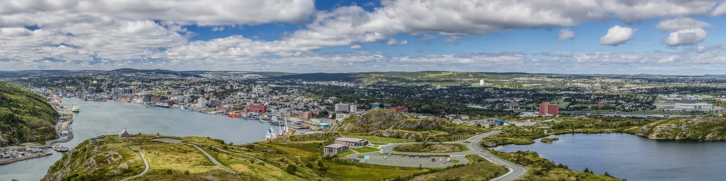 Panoramic view of St. Johns Harbour and downtown area, St. John's, Newfoundland, Canada
