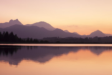 Hopfensee Lake at sunset, near Fussen, Allgau, Allgau Alps, Bavaria, Germany, Europe