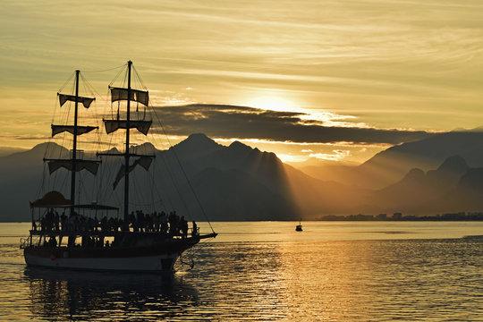 Sunset, view from Antalya of Taurus Mountains and Mediterranean Sea, Antalya Province, Anatolia, Turkey Minor