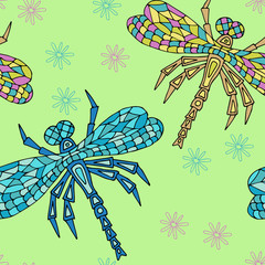 Hand drawn Zen tangle seamless pattern with Dragonflies. Use for cards, invitation, wallpapers, pattern fills, web pages elements and etc.