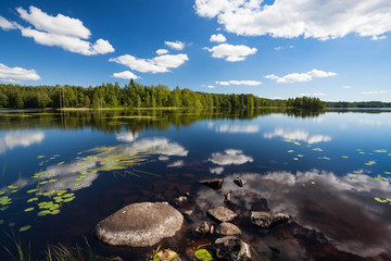 Sunny lake landscape from finland