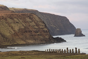Ahu Tongariki where 15 moai statues stand with their backs to the ocean, Easter Island, UNESCO World Heritage Site, Chile, South America