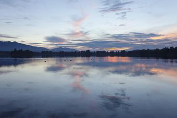 Staffelsee Lake at sunset, Upper Bavaria, Bavarian Alps, Bavaria, Germany, Europe