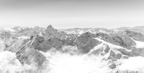 Wall Mural - Panorama of winter mountains in Caucasus region, Russia,