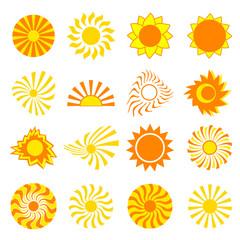 Set of stylized sun over white