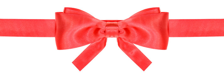 red ribbon and symmetric bow with square cut ends