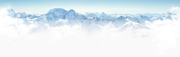 Foto op Canvas Bergen Panorama of winter mountains in Caucasus region,Elbrus mountain, Russia