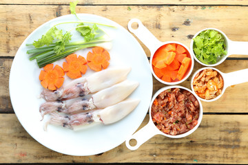 Raw squid, carrot and Pork ,Prepare to cooking.
