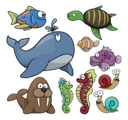 Under water fish set