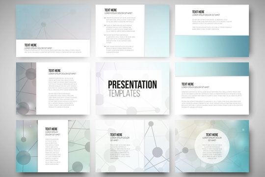 Set of 9 templates for presentation slides. Molecular structure