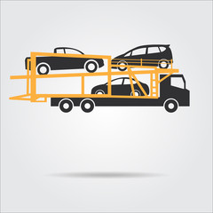 car shipping icon , silhouettes vector illustrations isolated on