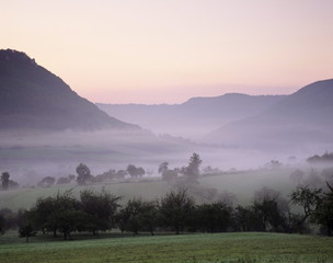 Early morning fog, Filstal Valley, Swabian Alb, Baden Wurttemberg, Germany, Europe