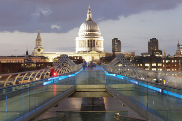 Millennium Bridge and St. Paul's Cathedral, London, England, United Kingdom, Europe