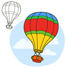 Air balloon. Coloring book page. Cartoon vector illustration.