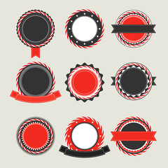 Black and red vintage badges templates