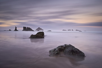 Rocks and sea stacks at dawn, Bandon Beach, Oregon, United States of America, North America