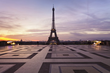 Trocadero and Eiffel Tower at sunrise, Paris, Ile de France, France, Europe