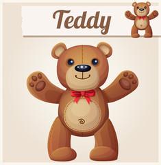 Teddy bear love hugs. Cartoon vector illustration.