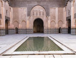 Central courtyard and pool, Medersa Ali Ben Youssef (Madrasa Bin Yousuf), Medina, UNESCO World Heritage Site, Marrakesh,  Morocco, North Africa, Africa