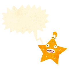 retro cartoon christmas star bauble with speech bubble