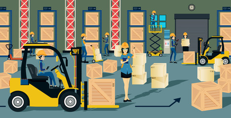The storage warehouse worker and a forklift.