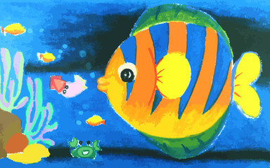 Colorful  fish and beatiful coral in the sea painting