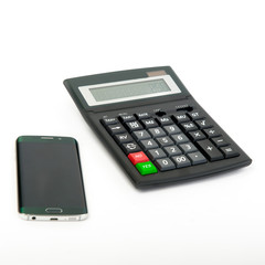 Smartphone and calculator on the white background