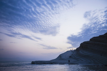 Scala dei Turchi, clouds reflecting the shape of The Turkish Staircase at sunset, Realmonte, Agrigento, Sicily, Italy, Mediterranean, Europe