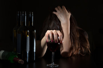 Woman in alcoholism issue