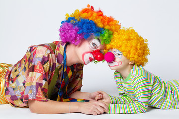 big and little funny clowns photo
