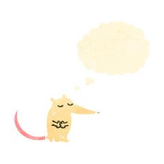 retro cartoon white mouse with speech bubble