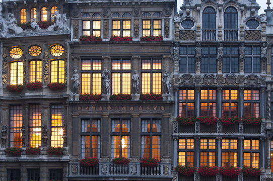 Grand Place building facade at dusk, Brussels, Belgium