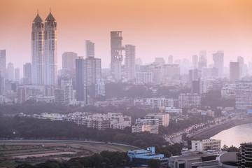 Skyline with Imperial twin-tower residential skyscrapers, Ambhani building and Haji Ali Bay, Mumbai, Maharashtra, India, Asia