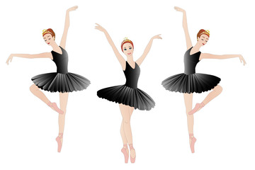 Three ballerins in black, isolated on white