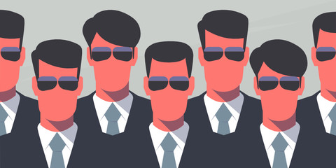 Group of bodyguards in dark suits and dark glasses. Secret service agents. Protection concept. Retro style illustration.