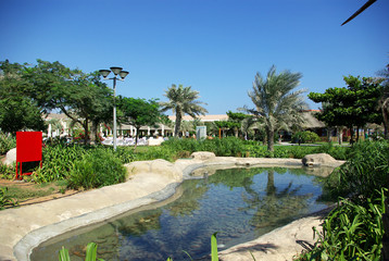 Resorts Fujairah. UAE. Coast of the Indian Ocean. Hotels and recreation areas on the shores of the Indian Ocean. Beautiful landscaping. Ponds with clear water.