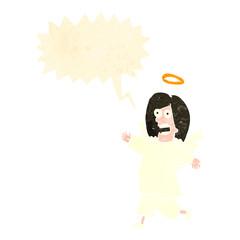 retro cartoon angel with speech bubble