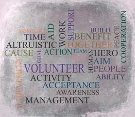 volunteer word background