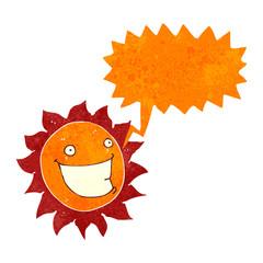 retro cartoon sun with speech bubble
